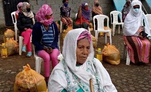 Woman receiving food